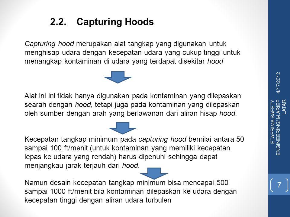 4/17/2012 ETAPRIMA SAFETY ENGINEERING/ M.ARIEF LATAR 7 2.2.Capturing Hoods Capturing hood merupakan alat tangkap yang digunakan untuk menghisap udara