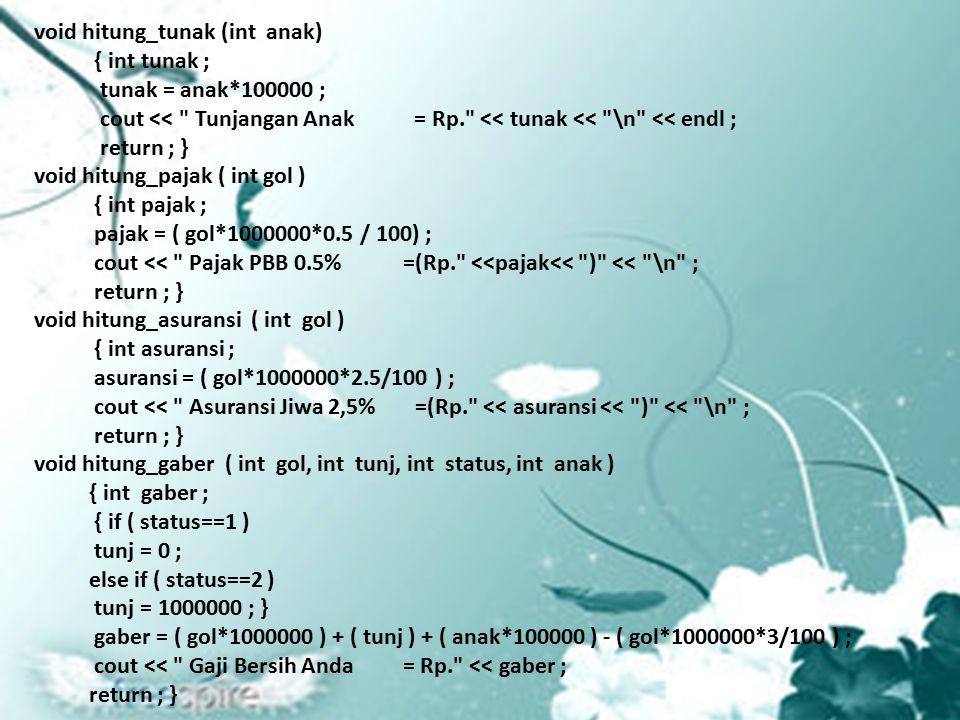 void hitung_tunak (int anak) { int tunak ; tunak = anak*100000 ; cout << Tunjangan Anak = Rp. << tunak << \n << endl ; return ; } void hitung_pajak ( int gol ) { int pajak ; pajak = ( gol*1000000*0.5 / 100) ; cout << Pajak PBB 0.5% =(Rp. <<pajak<< ) << \n ; return ; } void hitung_asuransi ( int gol ) { int asuransi ; asuransi = ( gol*1000000*2.5/100 ) ; cout << Asuransi Jiwa 2,5% =(Rp. << asuransi << ) << \n ; return ; } void hitung_gaber ( int gol, int tunj, int status, int anak ) { int gaber ; { if ( status==1 ) tunj = 0 ; else if ( status==2 ) tunj = 1000000 ; } gaber = ( gol*1000000 ) + ( tunj ) + ( anak*100000 ) - ( gol*1000000*3/100 ) ; cout << Gaji Bersih Anda = Rp. << gaber ; return ; }