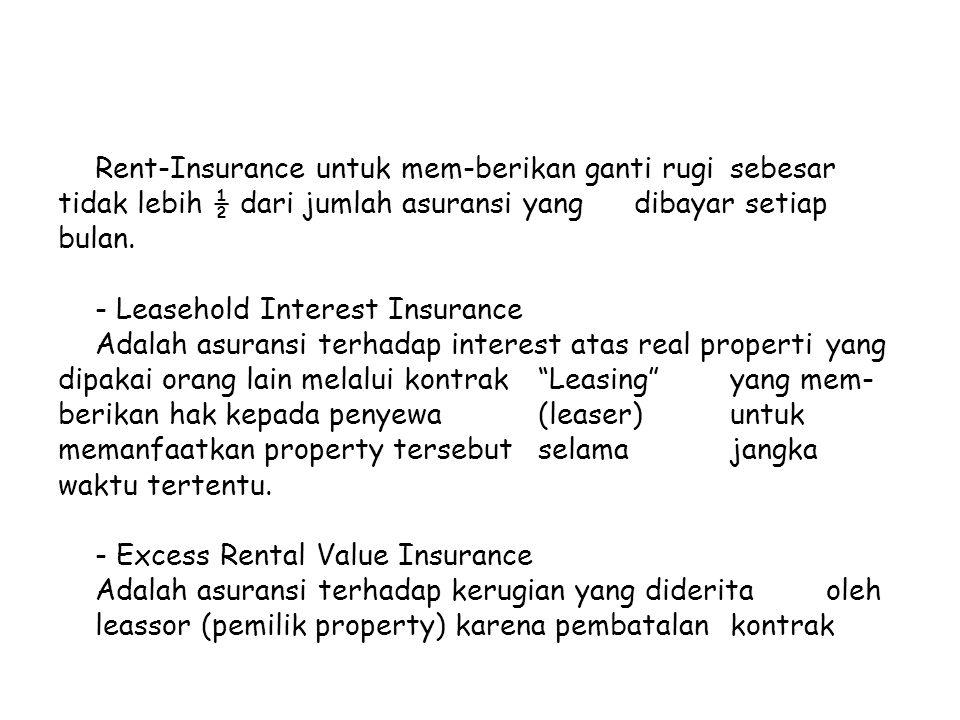 Rent-Insurance untuk mem-berikan ganti rugi sebesar tidak lebih ½ dari jumlah asuransi yang dibayar setiap bulan. - Leasehold Interest Insurance Adala