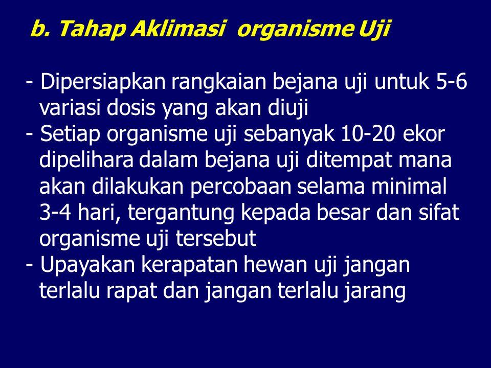 b. Tahap Aklimasi organisme Uji - Dipersiapkan rangkaian bejana uji untuk 5-6 variasi dosis yang akan diuji - Setiap organisme uji sebanyak 10-20 ekor
