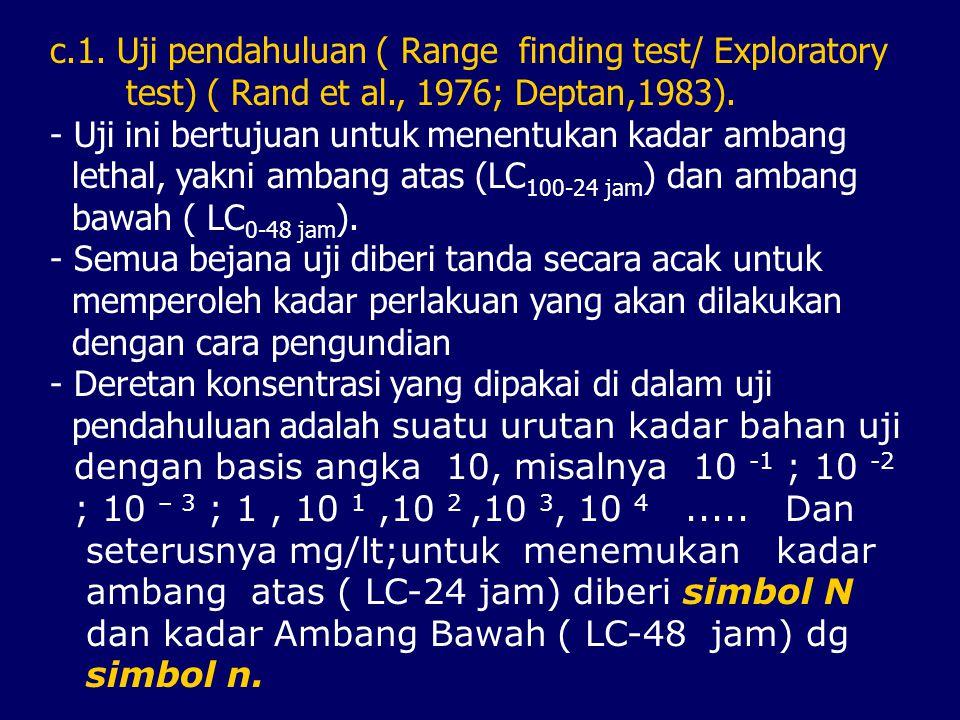 c.1.Uji pendahuluan ( Range finding test/ Exploratory test) ( Rand et al., 1976; Deptan,1983).