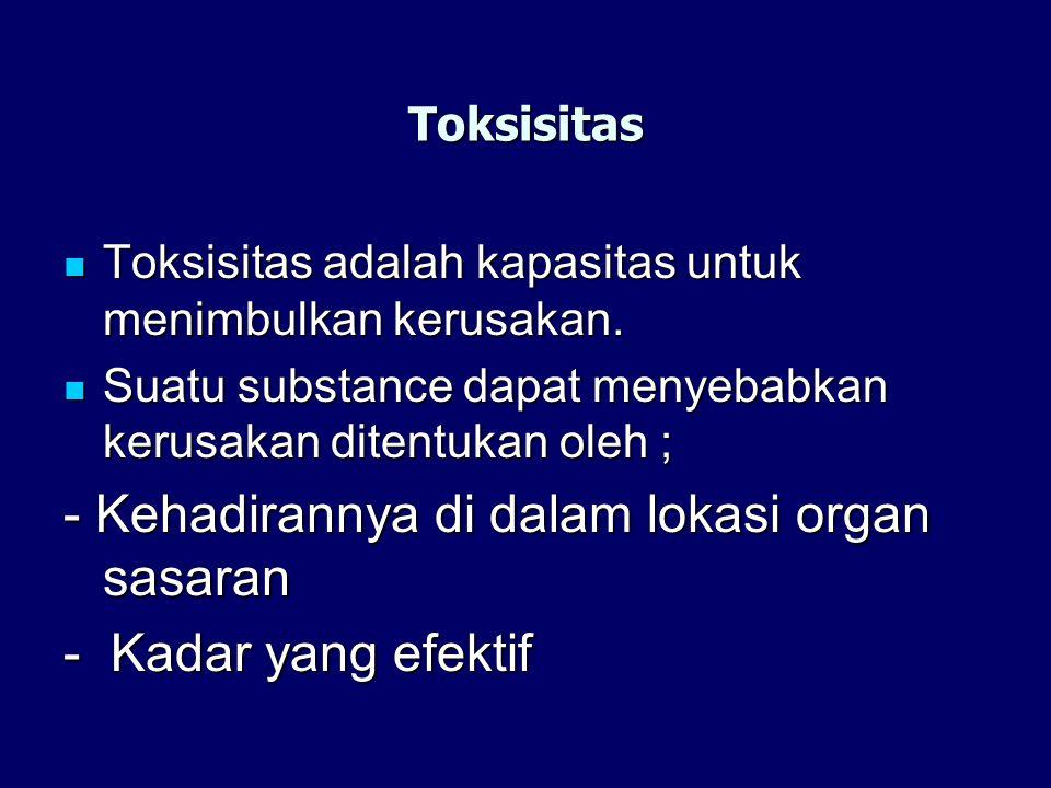 Toksisitas Toksisitas adalah kapasitas untuk menimbulkan kerusakan. Toksisitas adalah kapasitas untuk menimbulkan kerusakan. Suatu substance dapat men