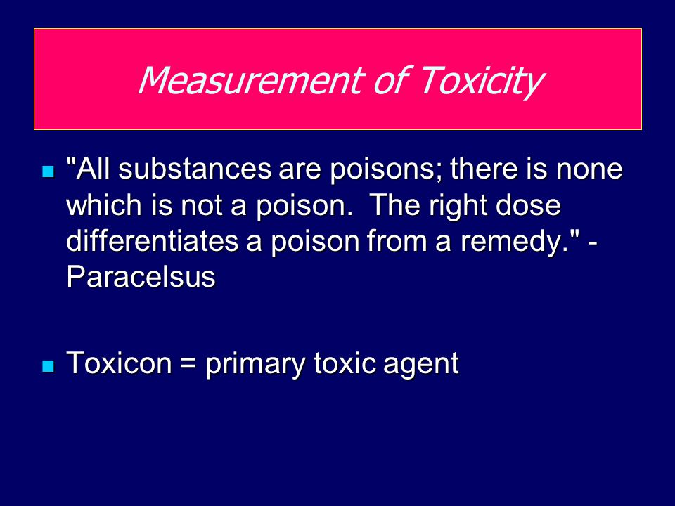 Toxicity testing Acute toxicity test Short time frame exposure (96h) Short time frame exposure (96h) LC 50, TLM (median tolerance limit) LC 50, TLM (median tolerance limit) EC 50 (effective concentration) EC 50 (effective concentration) Chronic toxicity test Longer time frame exposure (1 week to 3 years) Longer time frame exposure (1 week to 3 years) Endpoints are reproduction (brood size) physiology, behavior, biochemistry Endpoints are reproduction (brood size) physiology, behavior, biochemistry More ecologically relevant More ecologically relevant