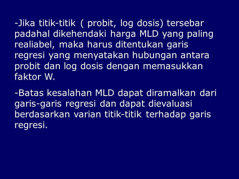 -Jika titik-titik ( probit, log dosis) tersebar padahal dikehendaki harga MLD yang paling realiabel, maka harus ditentukan garis regresi yang menyatak