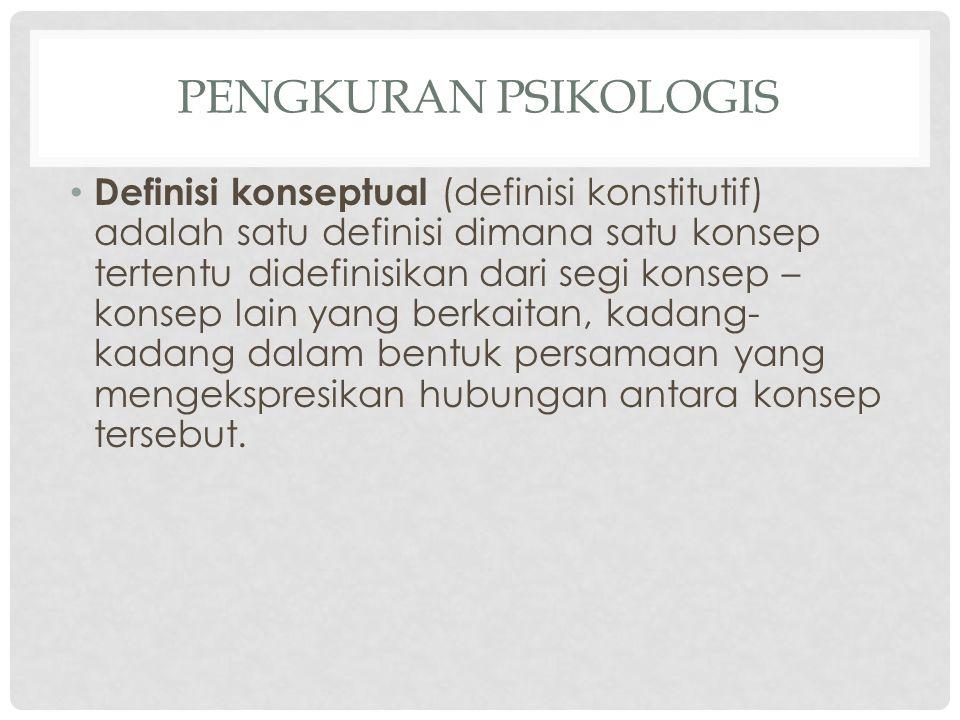 PENGKURAN PSIKOLOGIS Definisi konseptual (definisi konstitutif) adalah satu definisi dimana satu konsep tertentu didefinisikan dari segi konsep – kons