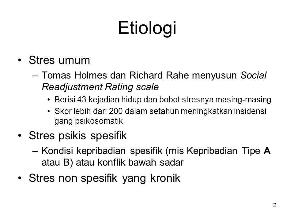 2 Etiologi Stres umum –Tomas Holmes dan Richard Rahe menyusun Social Readjustment Rating scale Berisi 43 kejadian hidup dan bobot stresnya masing-masi