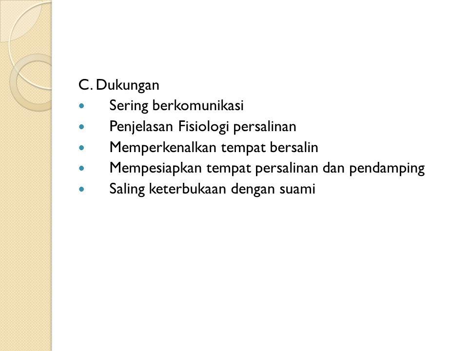 C. Dukungan Sering berkomunikasi Penjelasan Fisiologi persalinan Memperkenalkan tempat bersalin Mempesiapkan tempat persalinan dan pendamping Saling k