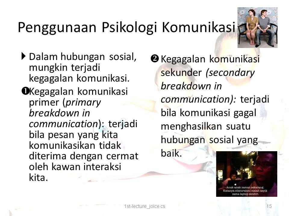 Penggunaan Psikologi Komunikasi  Dalam hubungan sosial, mungkin terjadi kegagalan komunikasi.