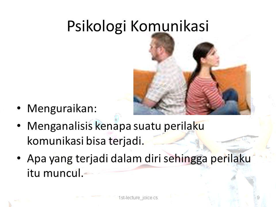 Psikologi Komunikasi Menguraikan: Menganalisis kenapa suatu perilaku komunikasi bisa terjadi.
