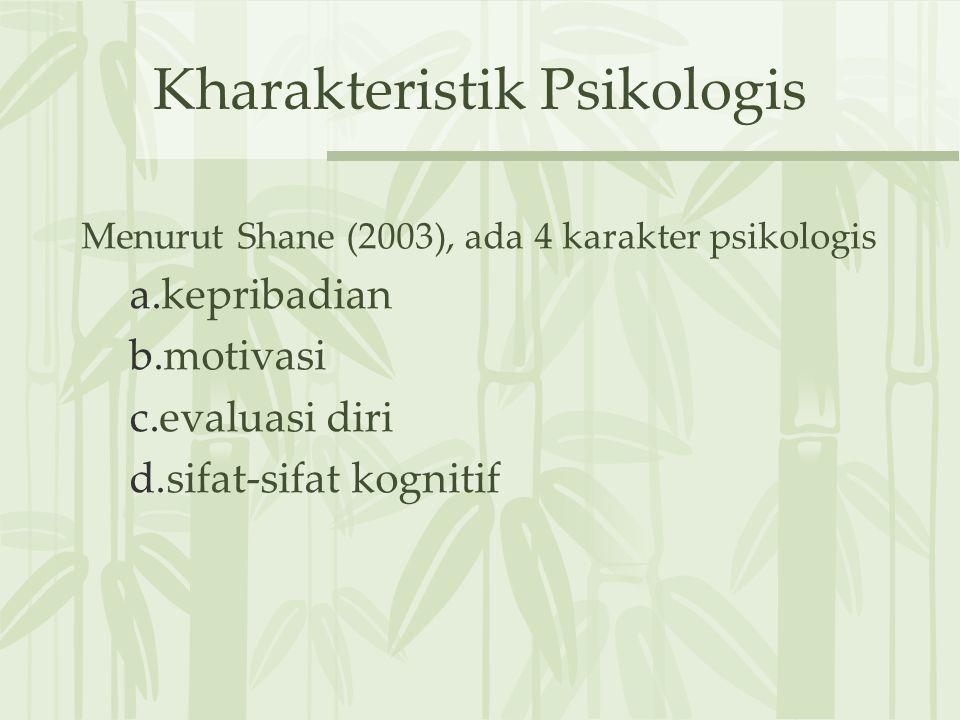 Kharakteristik Psikologis Menurut Shane (2003), ada 4 karakter psikologis a.kepribadian b.motivasi c.evaluasi diri d.sifat-sifat kognitif