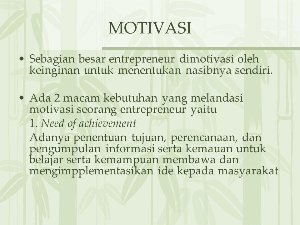 MOTIVASI Sebagian besar entrepreneur dimotivasi oleh keinginan untuk menentukan nasibnya sendiri. Ada 2 macam kebutuhan yang melandasi motivasi seoran