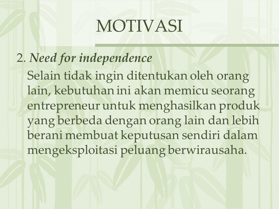 MOTIVASI 2. Need for independence Selain tidak ingin ditentukan oleh orang lain, kebutuhan ini akan memicu seorang entrepreneur untuk menghasilkan pro