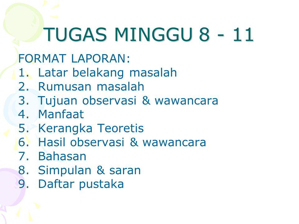 TUGAS MINGGU 8 - 11 FORMAT LAPORAN: 1.Latar belakang masalah 2.Rumusan masalah 3.Tujuan observasi & wawancara 4.Manfaat 5.Kerangka Teoretis 6.Hasil observasi & wawancara 7.Bahasan 8.Simpulan & saran 9.Daftar pustaka