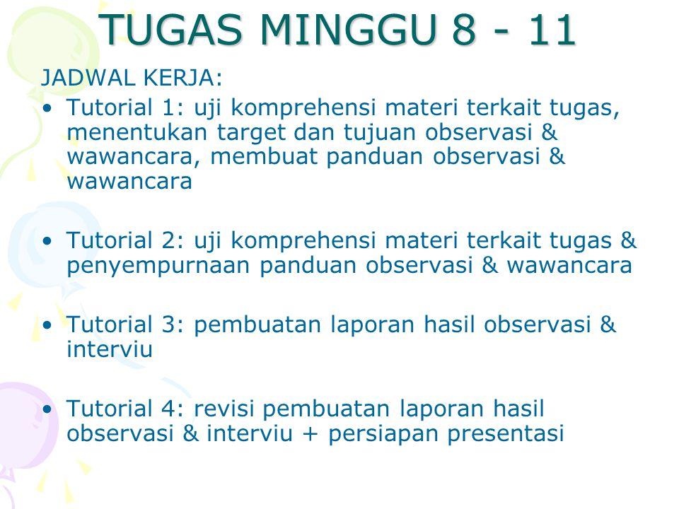 TUGAS MINGGU 8 - 11 JADWAL KERJA: Tutorial 1: uji komprehensi materi terkait tugas, menentukan target dan tujuan observasi & wawancara, membuat pandua
