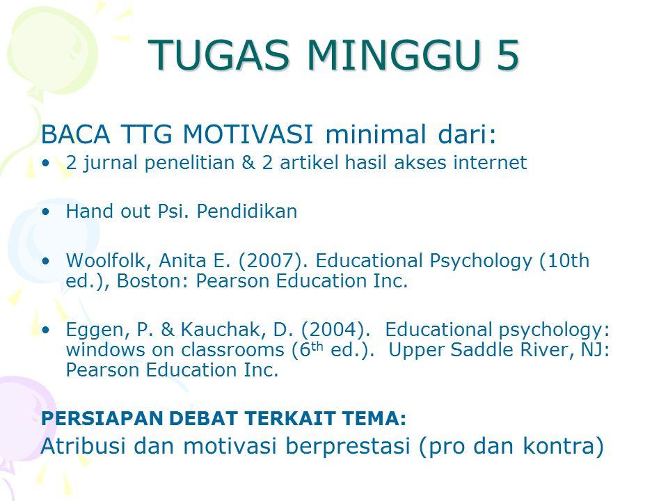 TUGAS MINGGU 5 BACA TTG MOTIVASI minimal dari: 2 jurnal penelitian & 2 artikel hasil akses internet Hand out Psi. Pendidikan Woolfolk, Anita E. (2007)