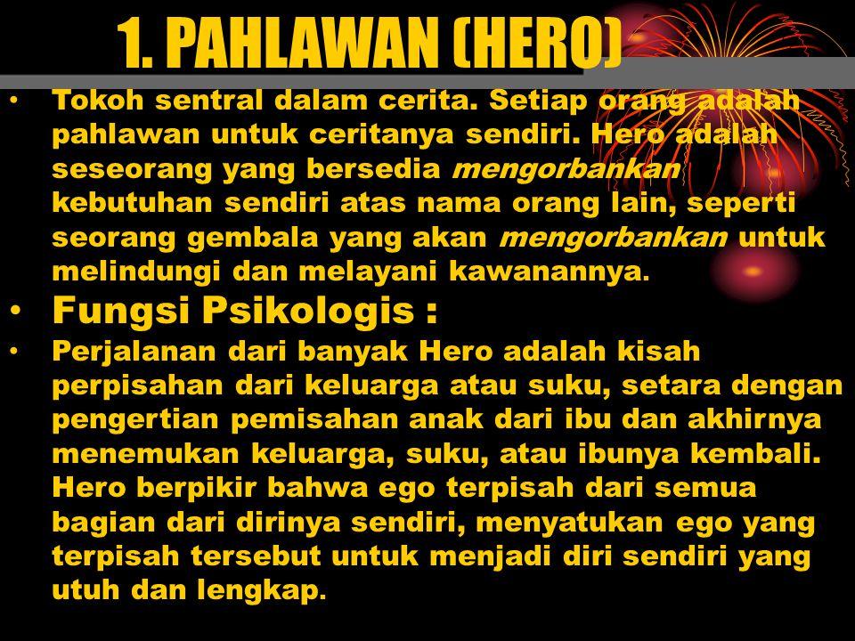 1. PAHLAWAN (HERO) Tokoh sentral dalam cerita. Setiap orang adalah pahlawan untuk ceritanya sendiri. Hero adalah seseorang yang bersedia mengorbankan