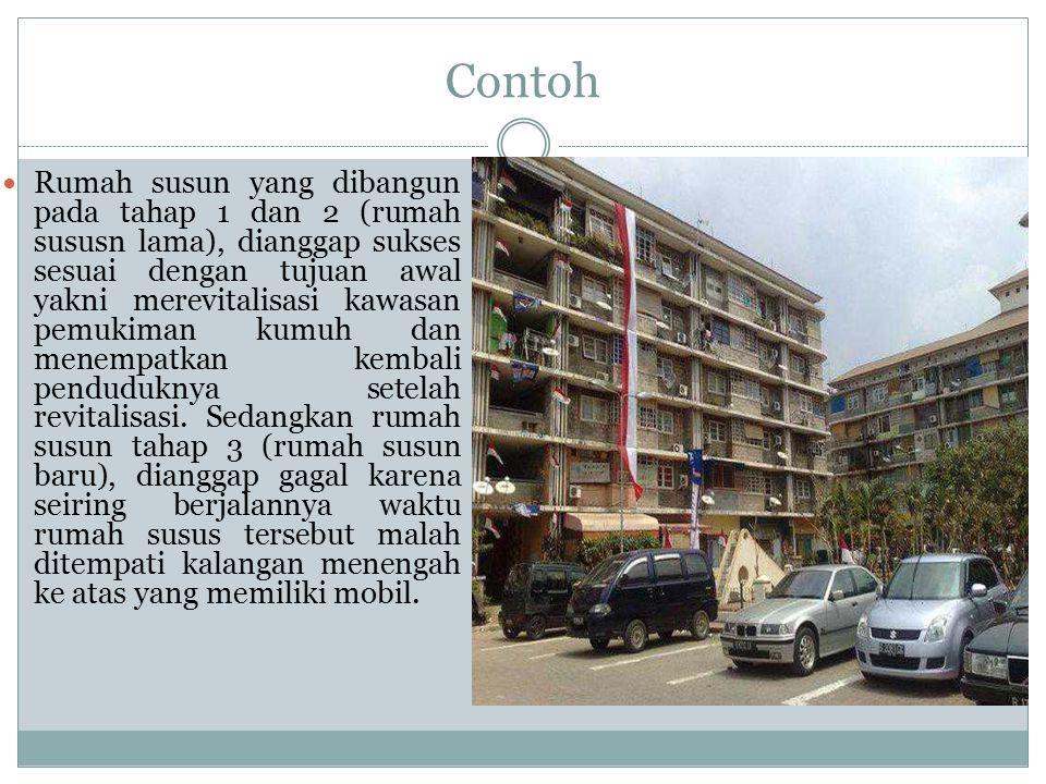 Contoh Rumah susun yang dibangun pada tahap 1 dan 2 (rumah sususn lama), dianggap sukses sesuai dengan tujuan awal yakni merevitalisasi kawasan pemukiman kumuh dan menempatkan kembali penduduknya setelah revitalisasi.
