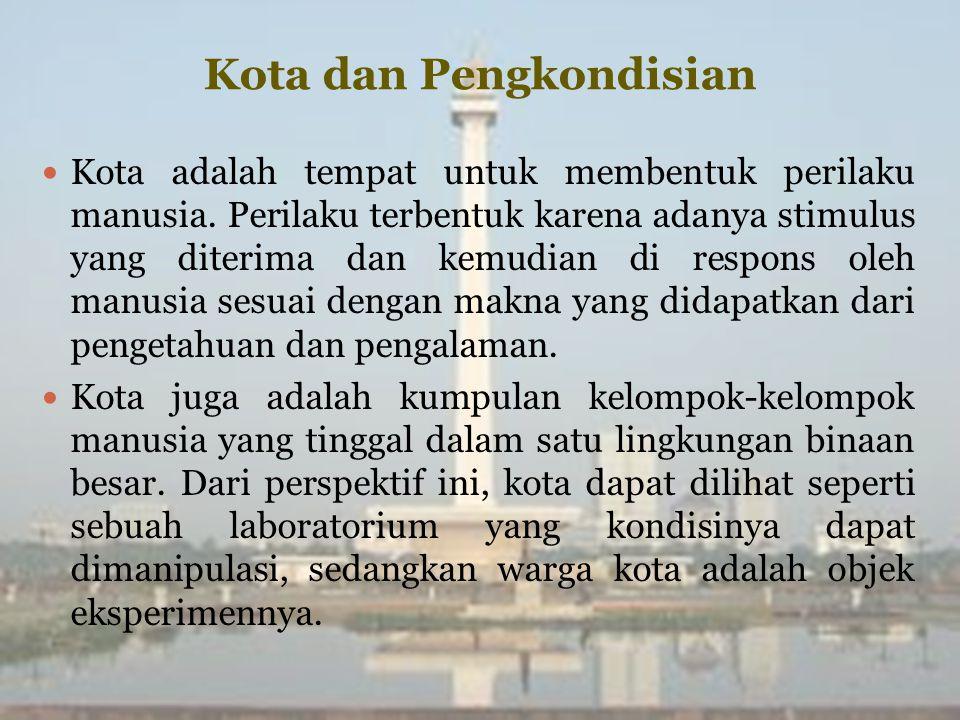 Kota dan Pengkondisian Kota adalah tempat untuk membentuk perilaku manusia.