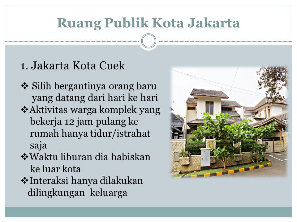 Ruang Publik Kota Jakarta 1. Jakarta Kota Cuek  Silih bergantinya orang baru yang datang dari hari ke hari  Aktivitas warga komplek yang bekerja 12