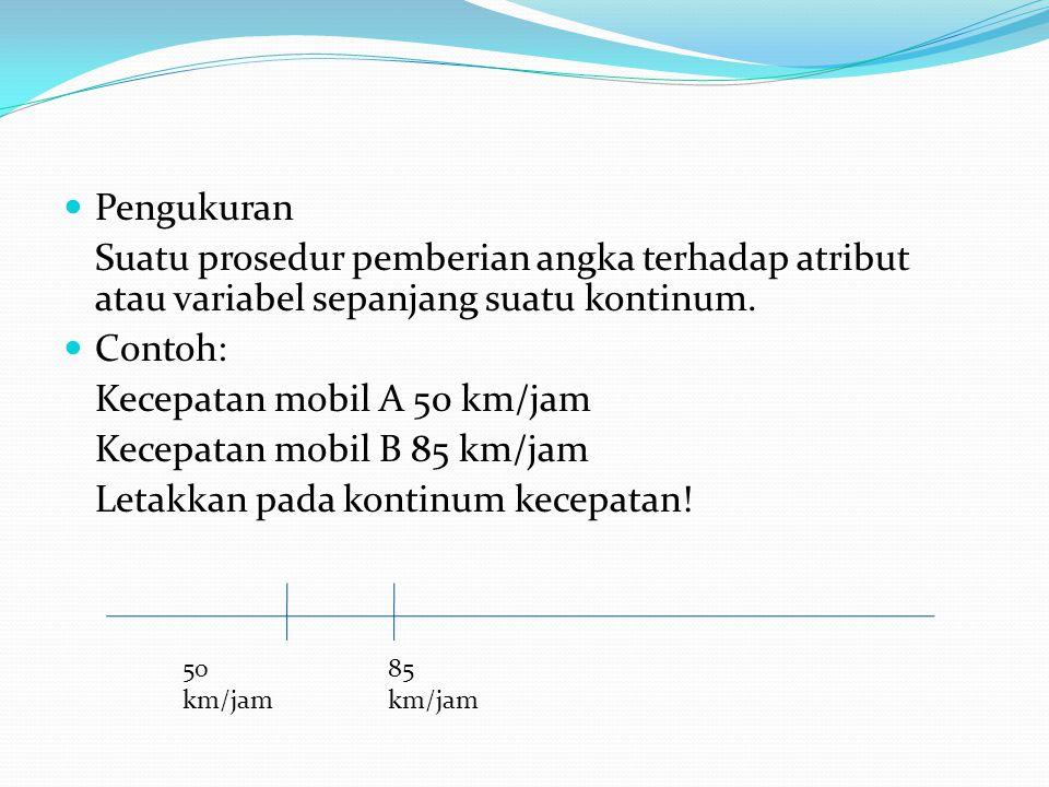 Pengukuran Suatu prosedur pemberian angka terhadap atribut atau variabel sepanjang suatu kontinum. Contoh: Kecepatan mobil A 50 km/jam Kecepatan mobil