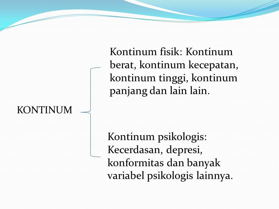 KONTINUM Kontinum fisik: Kontinum berat, kontinum kecepatan, kontinum tinggi, kontinum panjang dan lain lain. Kontinum psikologis: Kecerdasan, depresi