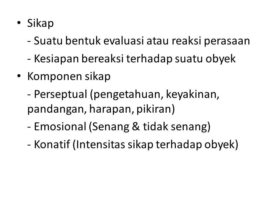 Sikap - Suatu bentuk evaluasi atau reaksi perasaan - Kesiapan bereaksi terhadap suatu obyek Komponen sikap - Perseptual (pengetahuan, keyakinan, pandangan, harapan, pikiran) - Emosional (Senang & tidak senang) - Konatif (Intensitas sikap terhadap obyek)