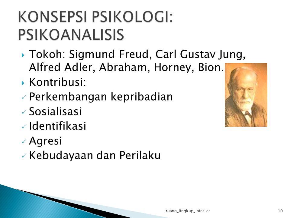  Tokoh: Sigmund Freud, Carl Gustav Jung, Alfred Adler, Abraham, Horney, Bion.  Kontribusi:  Perkembangan kepribadian  Sosialisasi  Identifikasi 
