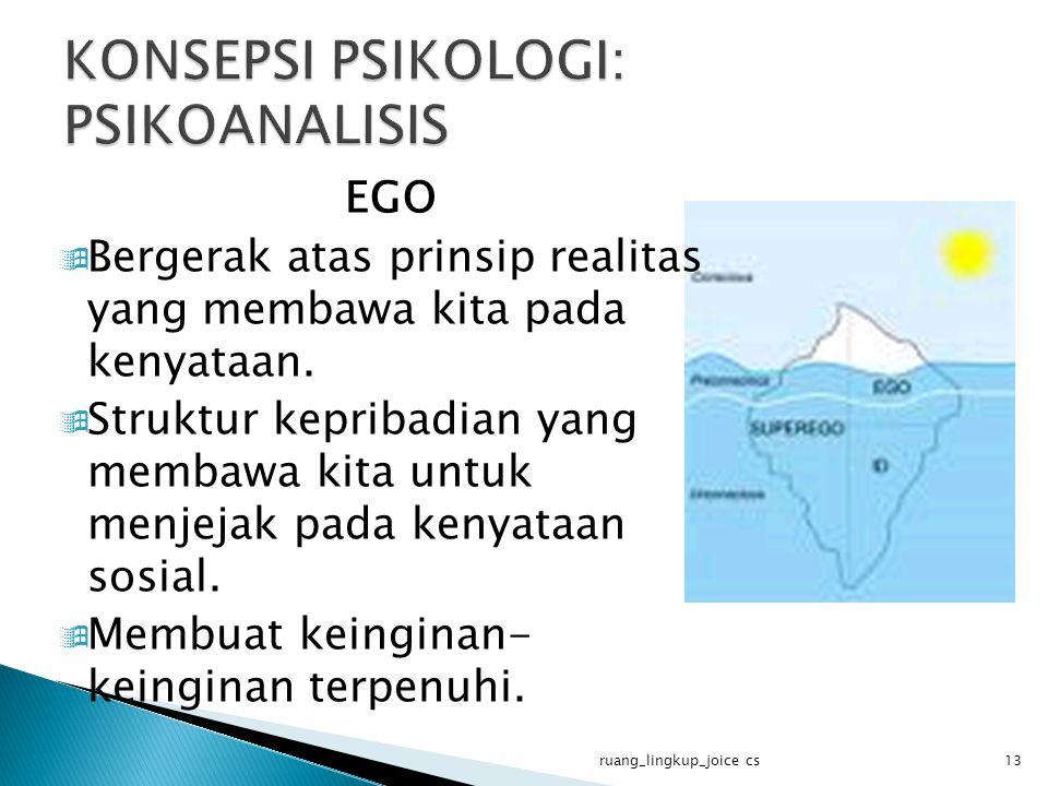 EGO  Bergerak atas prinsip realitas yang membawa kita pada kenyataan.  Struktur kepribadian yang membawa kita untuk menjejak pada kenyataan sosial.
