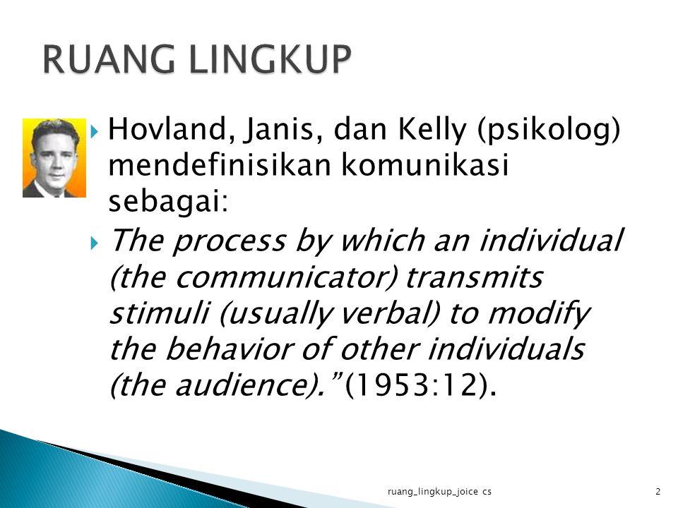  Dance (1967) mengartikan komunikasi sebagai usaha menimbulkan respons melalui lambang-lambang verbal , ketika lambang- lambang verbal tersebut bertindak sebagai stimuli.
