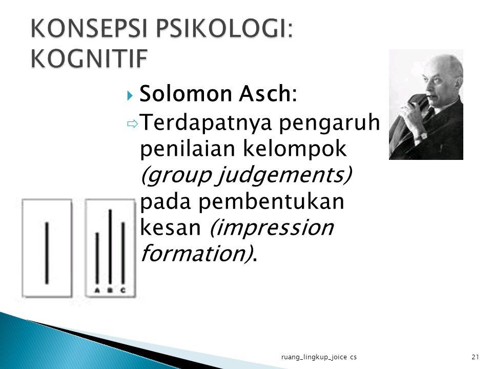  Solomon Asch:  Terdapatnya pengaruh penilaian kelompok (group judgements) pada pembentukan kesan (impression formation). ruang_lingkup_joice cs21