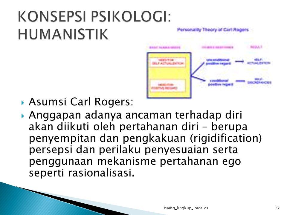  Asumsi Carl Rogers:  Anggapan adanya ancaman terhadap diri akan diikuti oleh pertahanan diri – berupa penyempitan dan pengkakuan (rigidification) persepsi dan perilaku penyesuaian serta penggunaan mekanisme pertahanan ego seperti rasionalisasi.