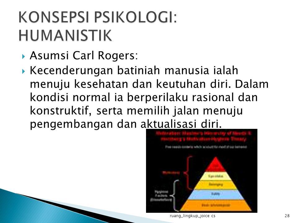  Asumsi Carl Rogers:  Kecenderungan batiniah manusia ialah menuju kesehatan dan keutuhan diri. Dalam kondisi normal ia berperilaku rasional dan kons