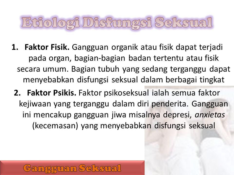 1.Faktor Fisik. Gangguan organik atau fisik dapat terjadi pada organ, bagian-bagian badan tertentu atau fisik secara umum. Bagian tubuh yang sedang te