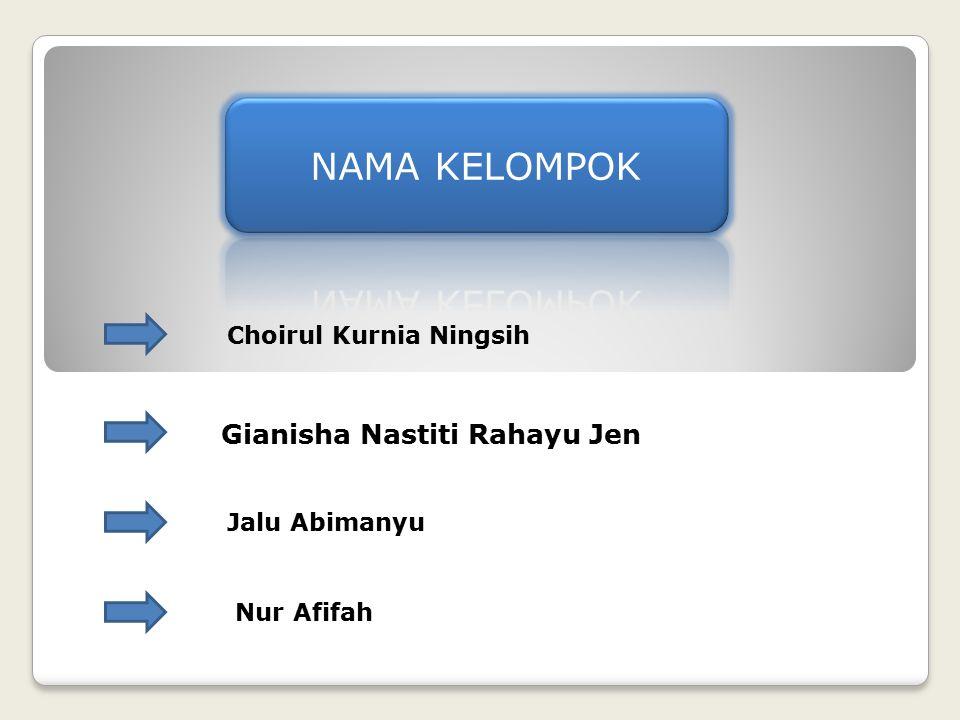 Choirul Kurnia Ningsih Gianisha Nastiti Rahayu Jen Jalu Abimanyu Nur Afifah