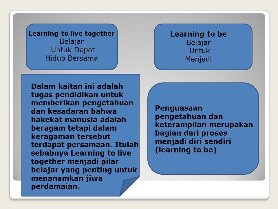 Learning to live together Belajar Untuk Dapat Hidup Bersama Dalam kaitan ini adalah tugas pendidikan untuk memberikan pengetahuan dan kesadaran bahwa