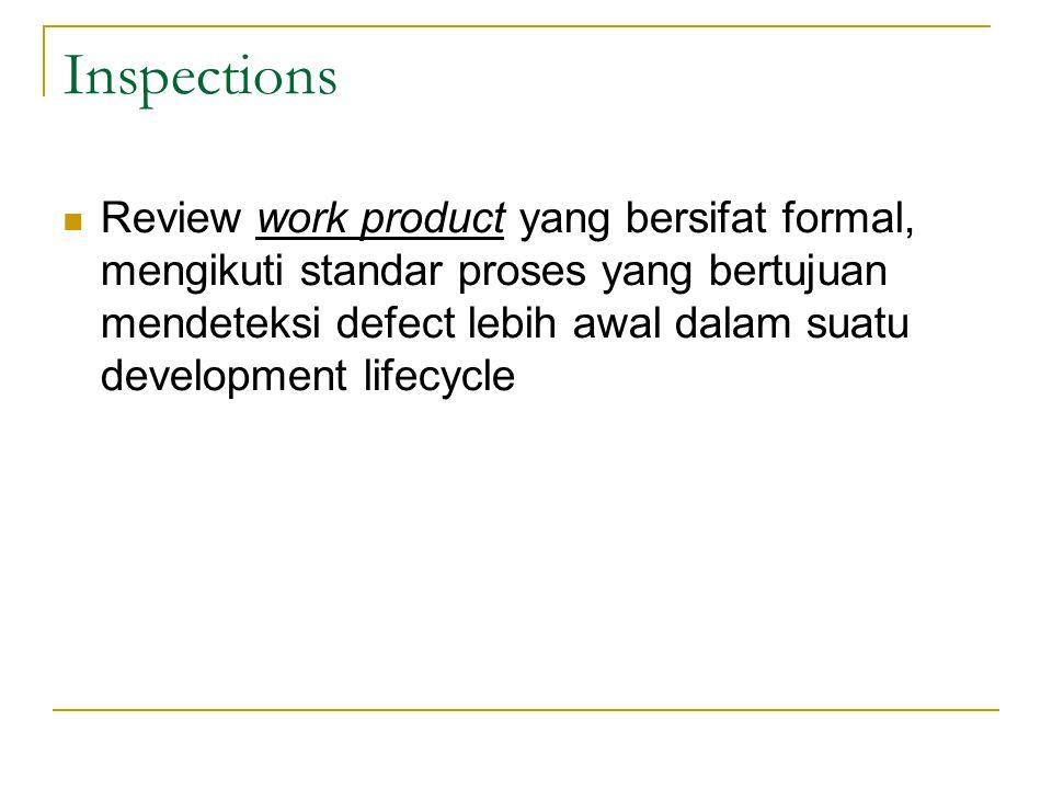 Inspections Review work product yang bersifat formal, mengikuti standar proses yang bertujuan mendeteksi defect lebih awal dalam suatu development lifecycle