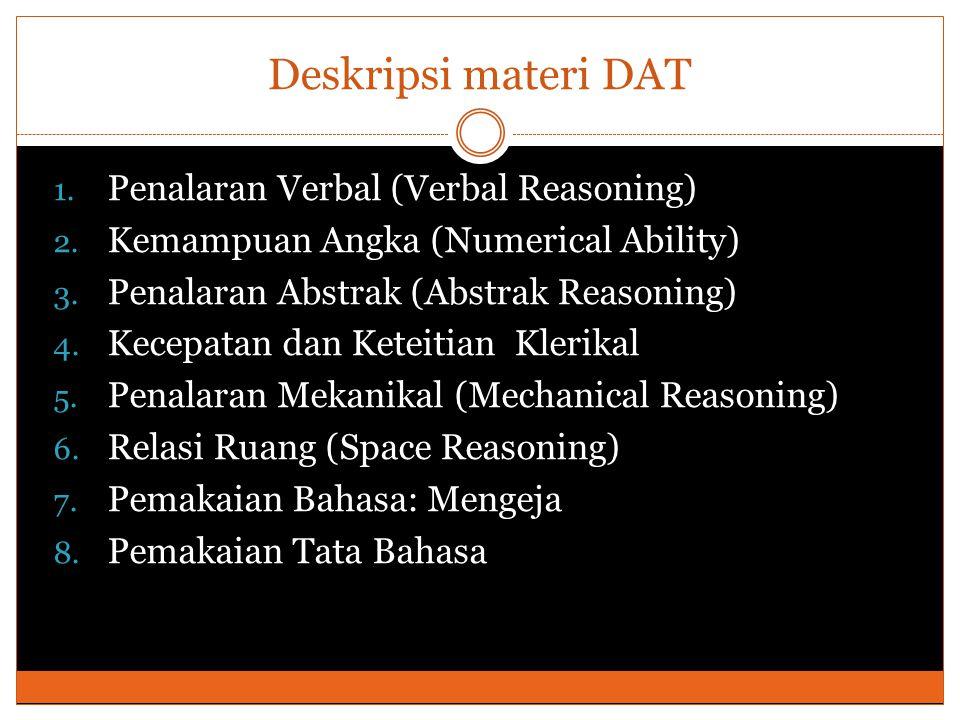 Deskripsi materi DAT 1. Penalaran Verbal (Verbal Reasoning) 2. Kemampuan Angka (Numerical Ability) 3. Penalaran Abstrak (Abstrak Reasoning) 4. Kecepat