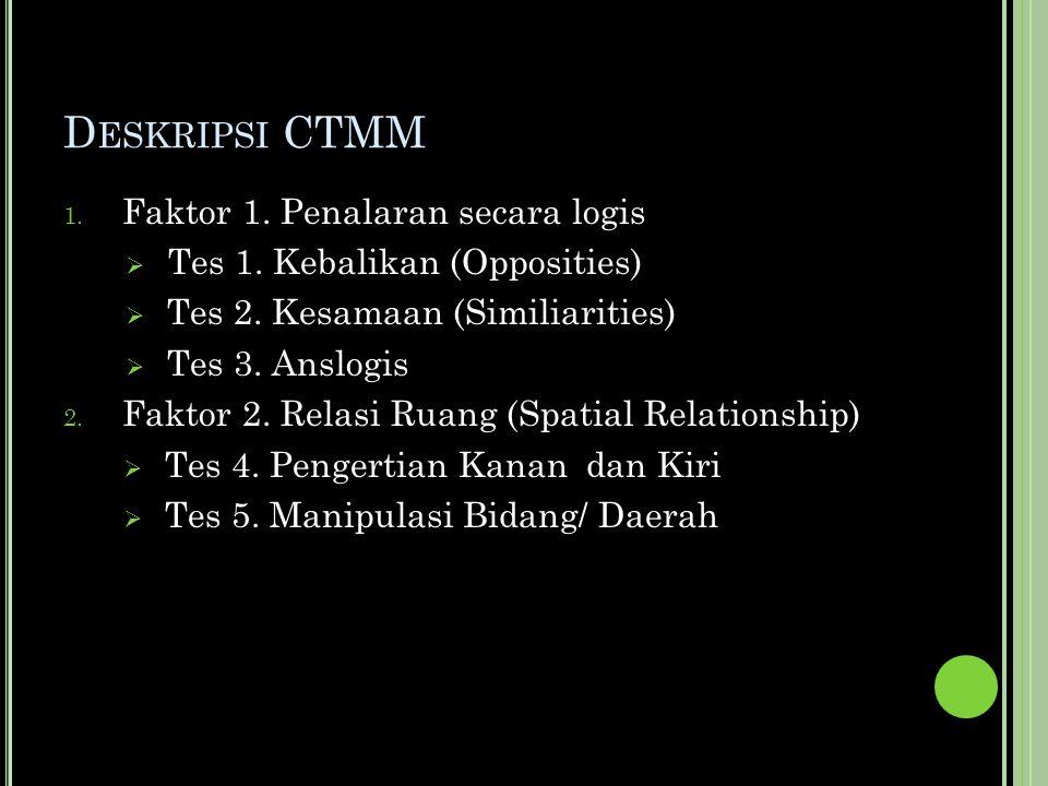D ESKRIPSI CTMM 1. Faktor 1. Penalaran secara logis  Tes 1.