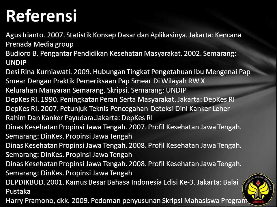 Referensi Agus Irianto. 2007. Statistik Konsep Dasar dan Aplikasinya. Jakarta: Kencana Prenada Media group Budioro B. Pengantar Pendidikan Kesehatan M