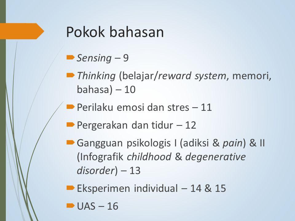 Pokok bahasan  Sensing – 9  Thinking (belajar/reward system, memori, bahasa) – 10  Perilaku emosi dan stres – 11  Pergerakan dan tidur – 12  Gang