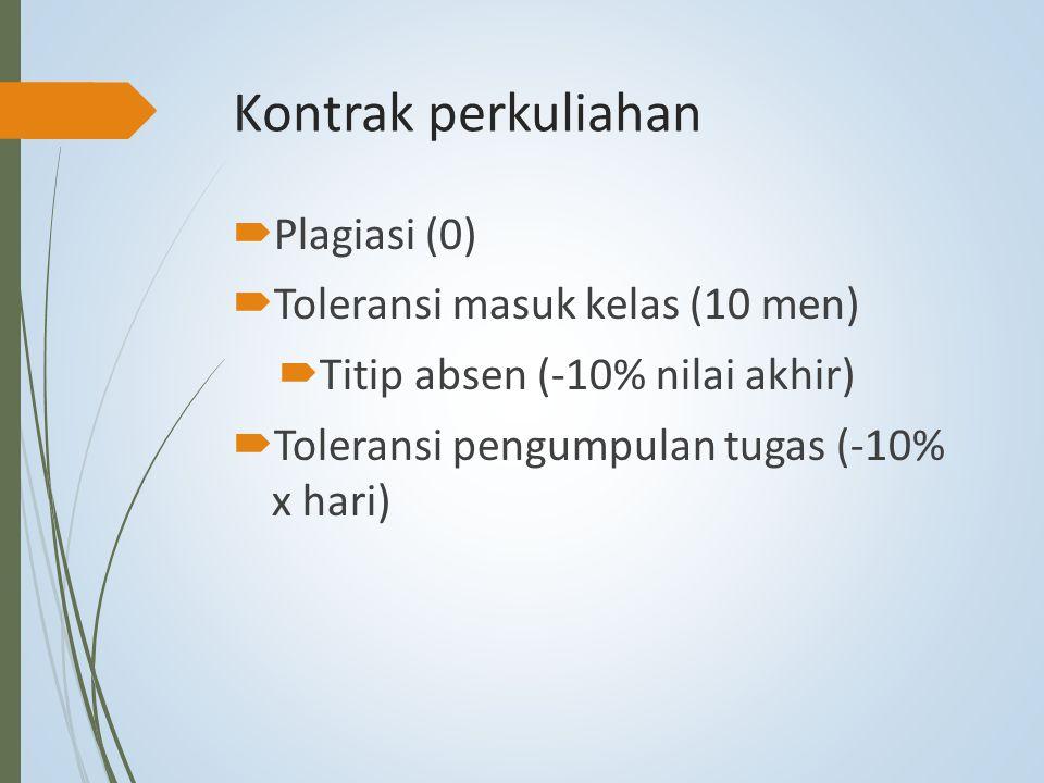Kontrak perkuliahan  Plagiasi (0)  Toleransi masuk kelas (10 men)  Titip absen (-10% nilai akhir)  Toleransi pengumpulan tugas (-10% x hari)