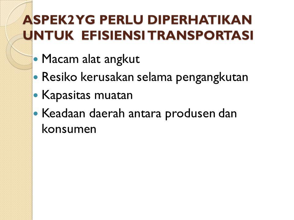 ASPEK2 YG PERLU DIPERHATIKAN UNTUK EFISIENSI TRANSPORTASI Macam alat angkut Resiko kerusakan selama pengangkutan Kapasitas muatan Keadaan daerah antar