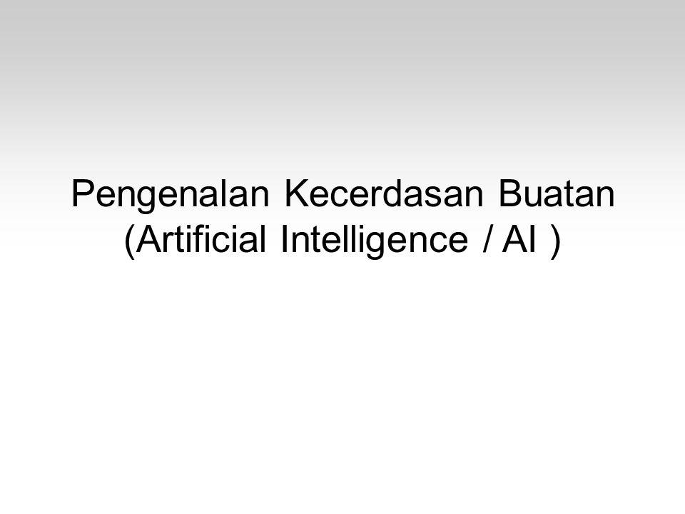 Konsep dan Definisi Dalam AI Pemrosesan simbolik –Komputer – pemrosesan numerik, memproses angka –Manusia – pemrosesan simbolik, tidak berdasarkan rumus atau komputasi matematis –AI – pemrosesan simbolik