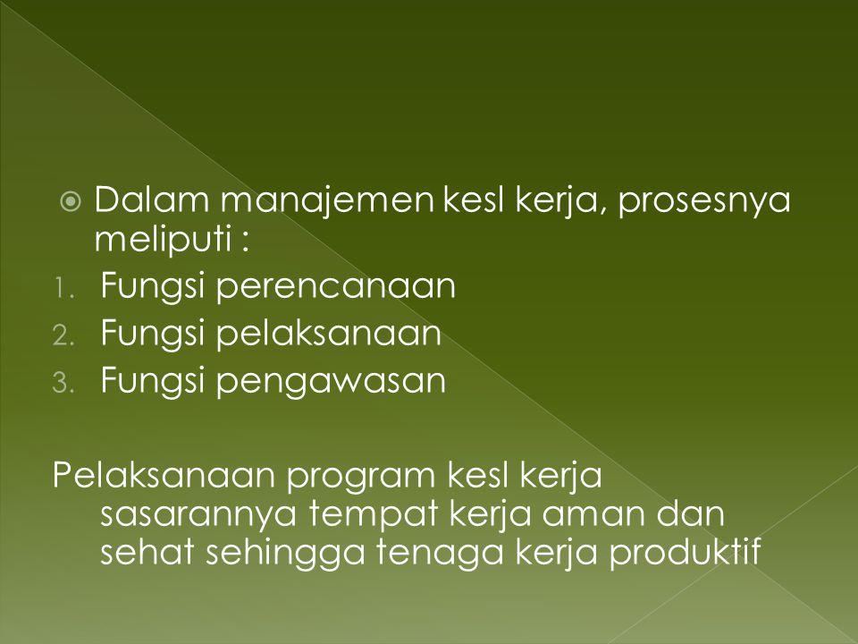 Dalam manajemen kesl kerja, prosesnya meliputi : 1. Fungsi perencanaan 2. Fungsi pelaksanaan 3. Fungsi pengawasan Pelaksanaan program kesl kerja sas