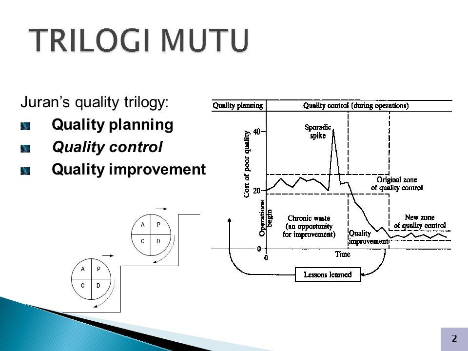 2 Juran's quality trilogy: Quality planning Quality control Quality improvement P D A C P D A C