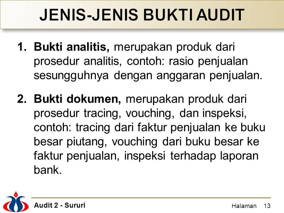 Audit 2 - Sururi 1.Bukti analitis, merupakan produk dari prosedur analitis, contoh: rasio penjualan sesungguhnya dengan anggaran penjualan. 2.Bukti do
