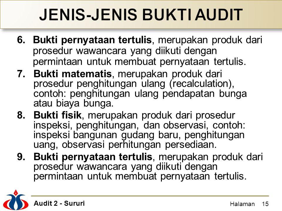 Audit 2 - Sururi 6.Bukti pernyataan tertulis, merupakan produk dari prosedur wawancara yang diikuti dengan permintaan untuk membuat pernyataan tertuli