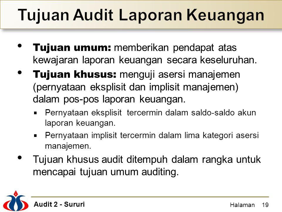 Audit 2 - Sururi Tujuan umum: memberikan pendapat atas kewajaran laporan keuangan secara keseluruhan. Tujuan khusus: menguji asersi manajemen (pernyat