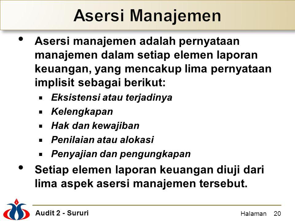 Audit 2 - Sururi Asersi manajemen adalah pernyataan manajemen dalam setiap elemen laporan keuangan, yang mencakup lima pernyataan implisit sebagai ber