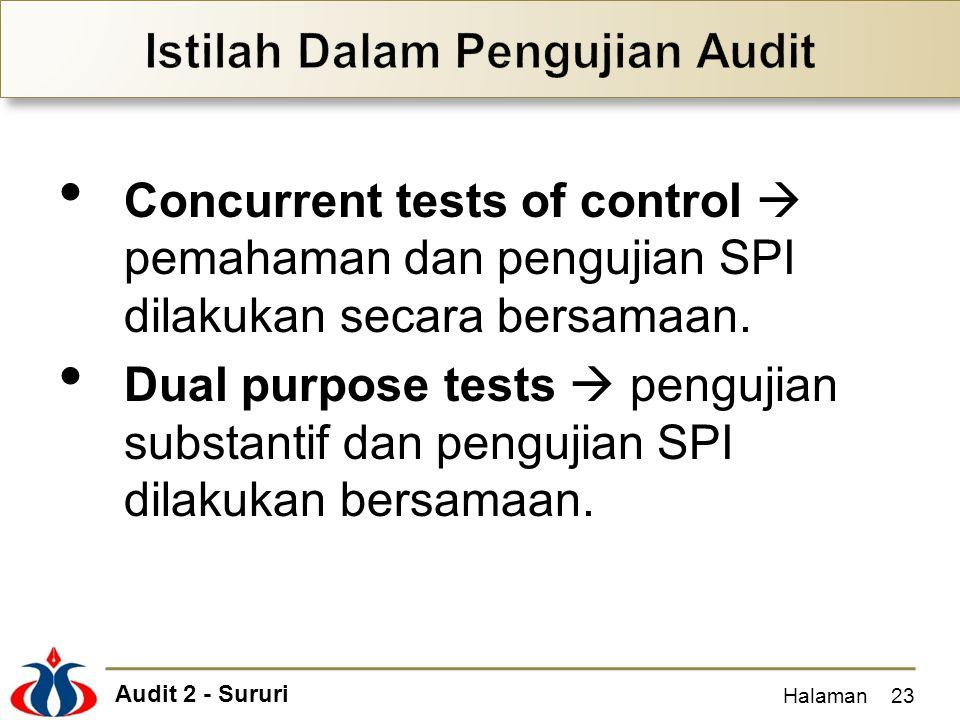 Audit 2 - Sururi Concurrent tests of control  pemahaman dan pengujian SPI dilakukan secara bersamaan. Dual purpose tests  pengujian substantif dan p